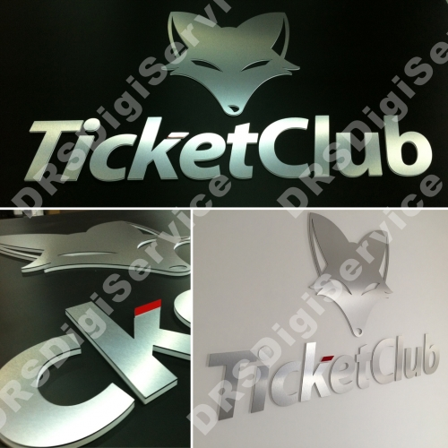 logo a roilievo TICKET CLUB in forex e alluminio spazzolato